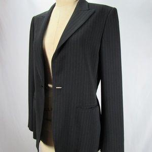 Max Mara Italy Black Pinstripe Blazer Coat 10